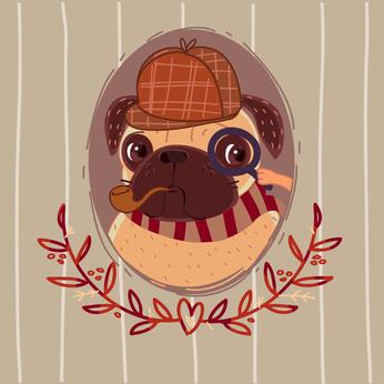 Pug - Sherlock Holmes. Portrait.